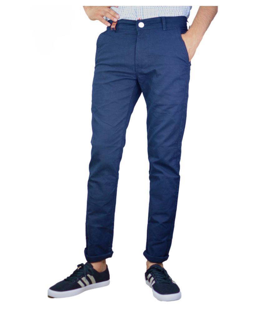 UNQ Navy Blue Slim Flat Trouser