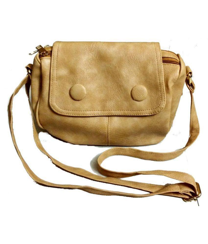 Craveforit Beige P.U. Sling Bag
