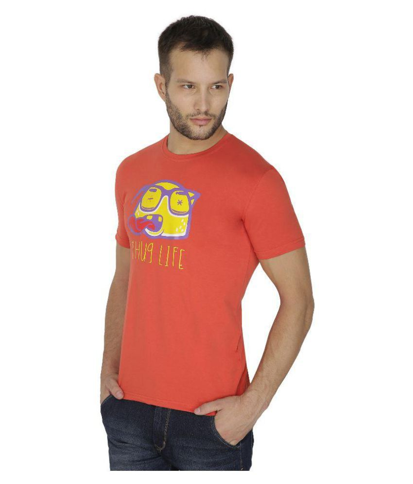 Tarkshyam Trendz Orange Round T-Shirt