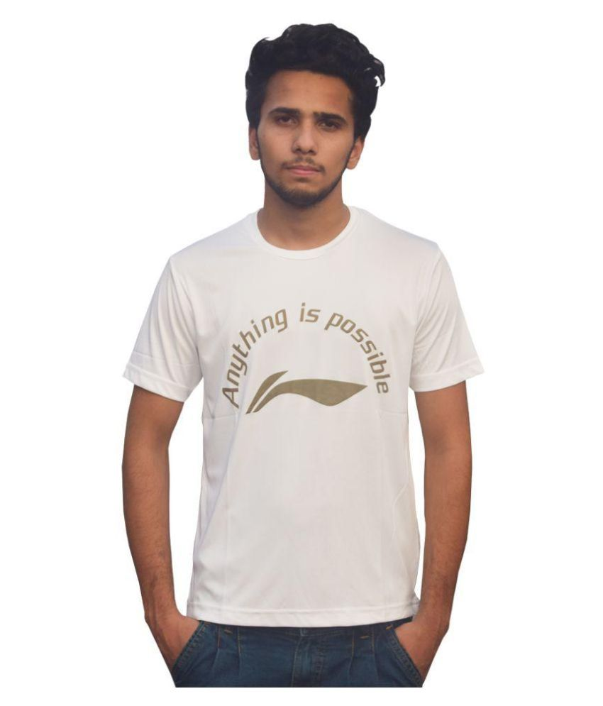 Li-Ning White Polyester T-Shirt Single Pack