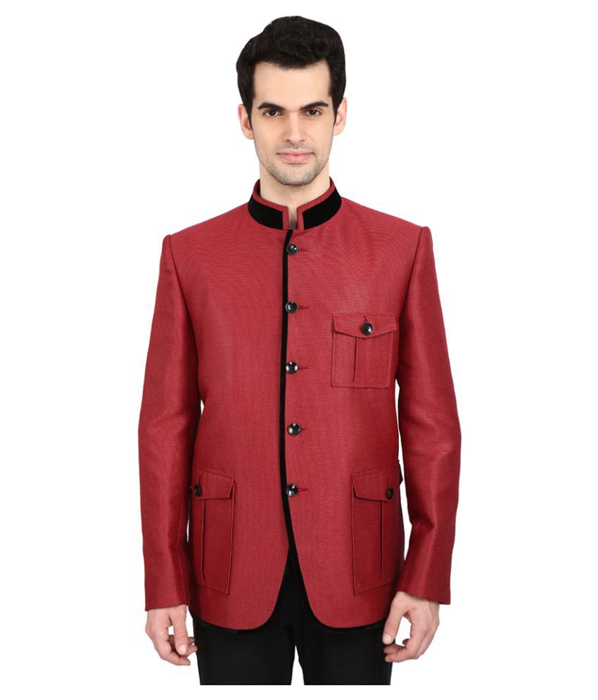 Indian Attire Maroon Solid festive Tuxedo