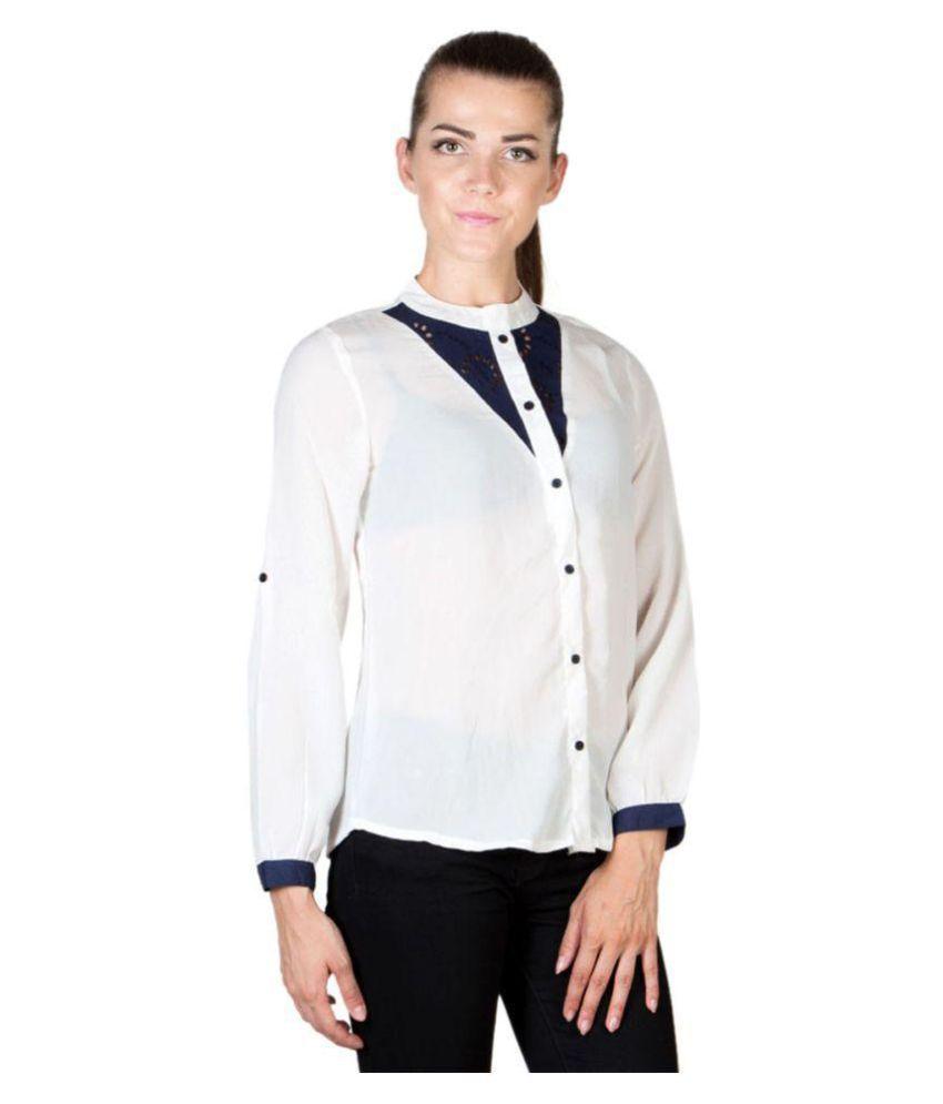 Jappshop White Poly Crepe Shirt