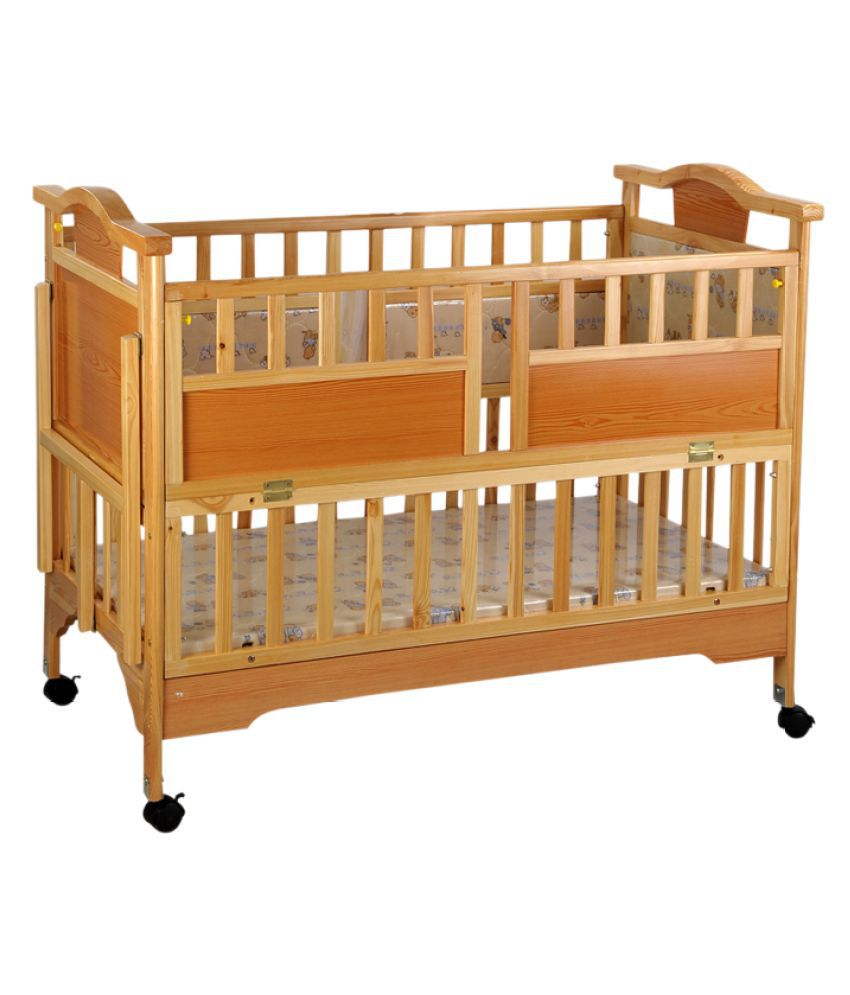 Mee Mee Brown Baby Wooden Cot