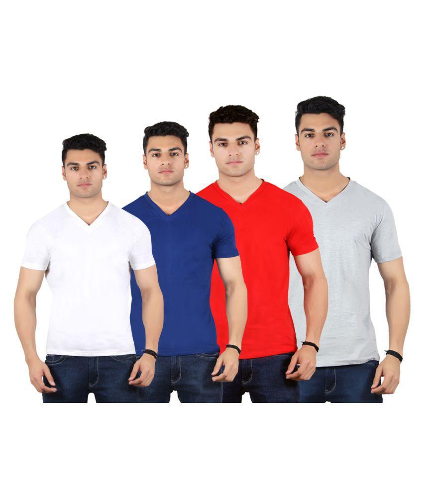 Diaz Multi V-Neck T-Shirt Pack of 4