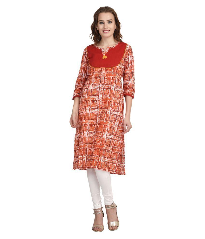 Indi Dori Multicoloured Cotton Straight Kurti