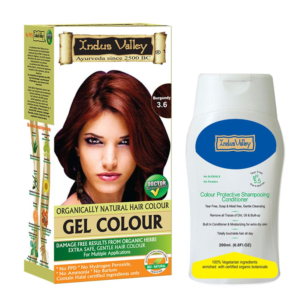 Indus Valley Color Protective Shampoo & Semi Permanent Hair Color Burgundy 420 g