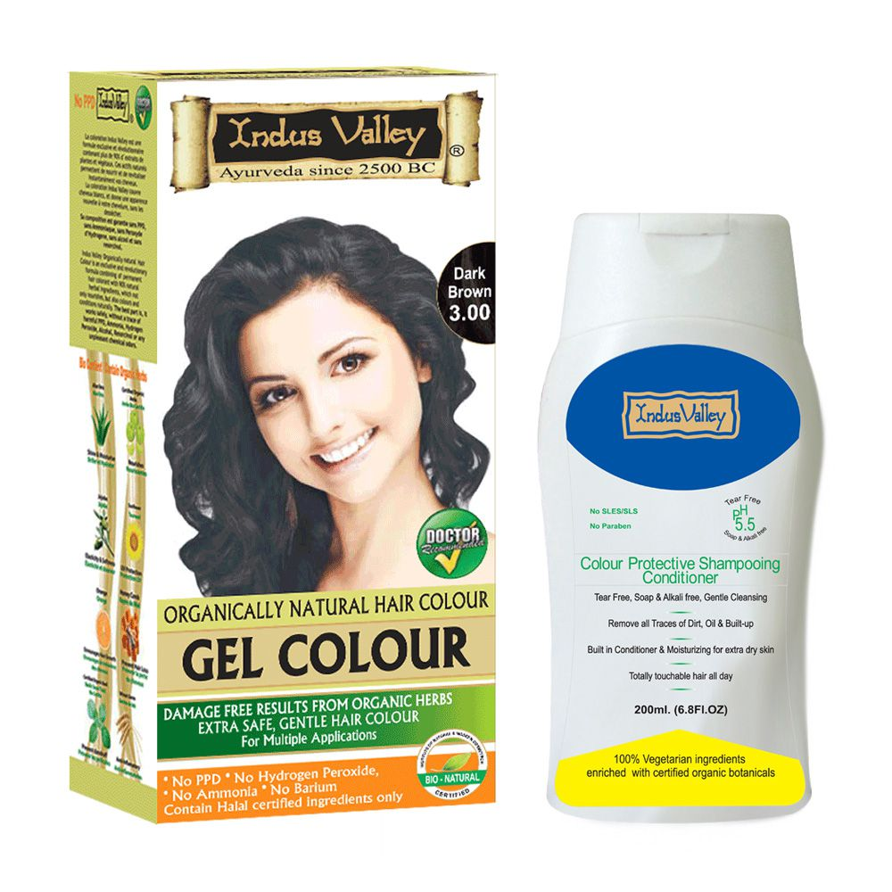 Indus valley Organically Natural Gel Dark Brown 3.00 Hair Color & Colour Protective Shampooing Conditioner- Combo Set
