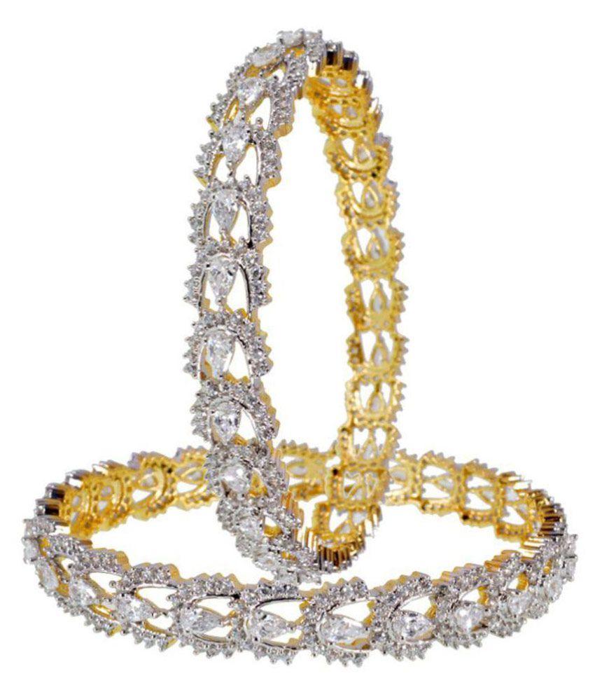 Shona Jewels White Bangles Pair