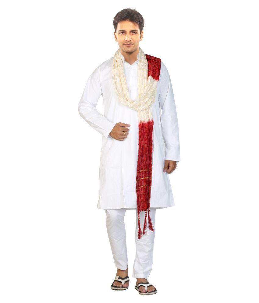 JBN Creation White Cotton Kurta Pyjama Set