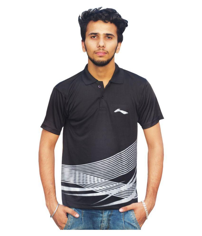 Li-Ning Black Polyester Polo T-shirt Single Pack