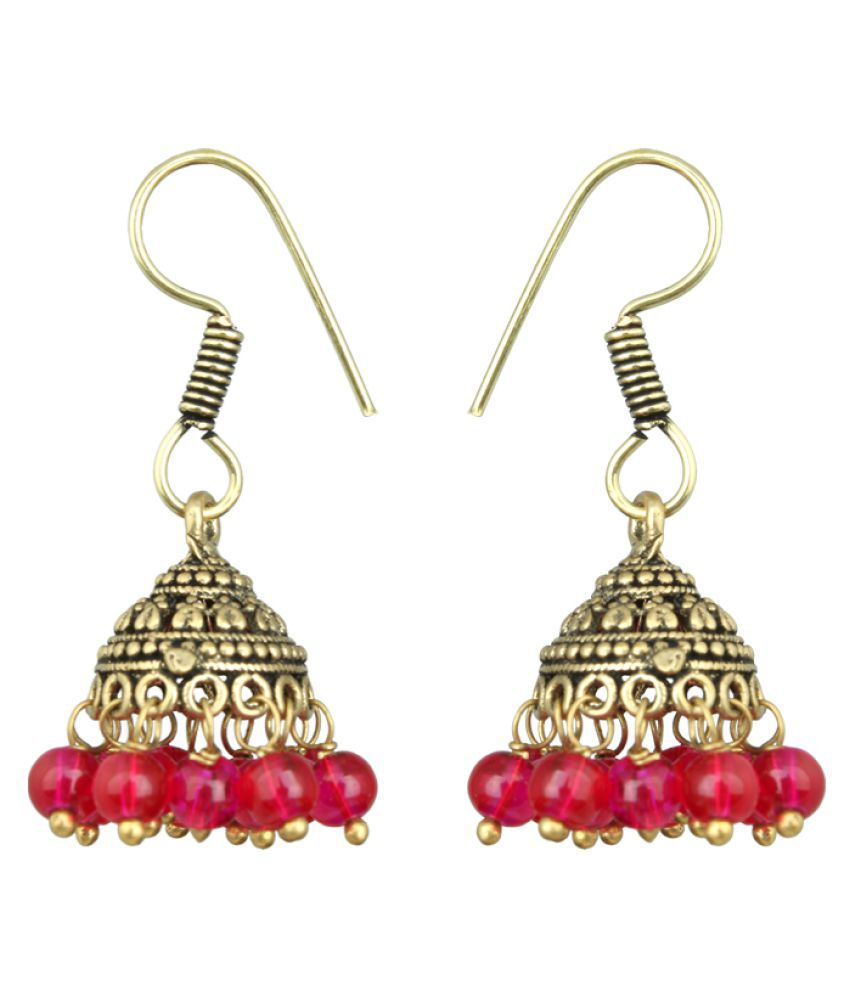 Waama Jewels Pink Pearls Studded Jhumki Earring