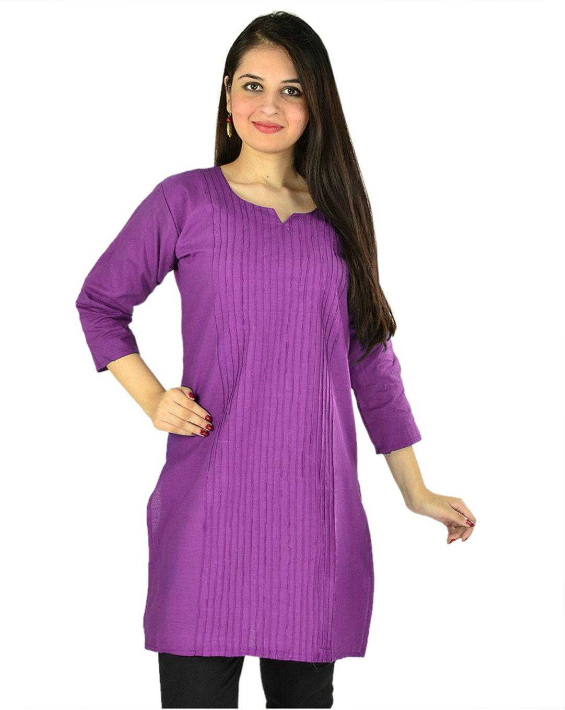 B & G Fashion Purple Cotton Straight Kurti