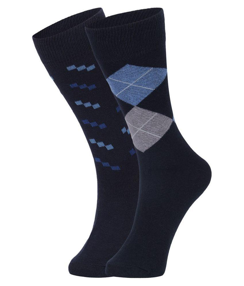 Dukk Navy Casual Full Length Socks