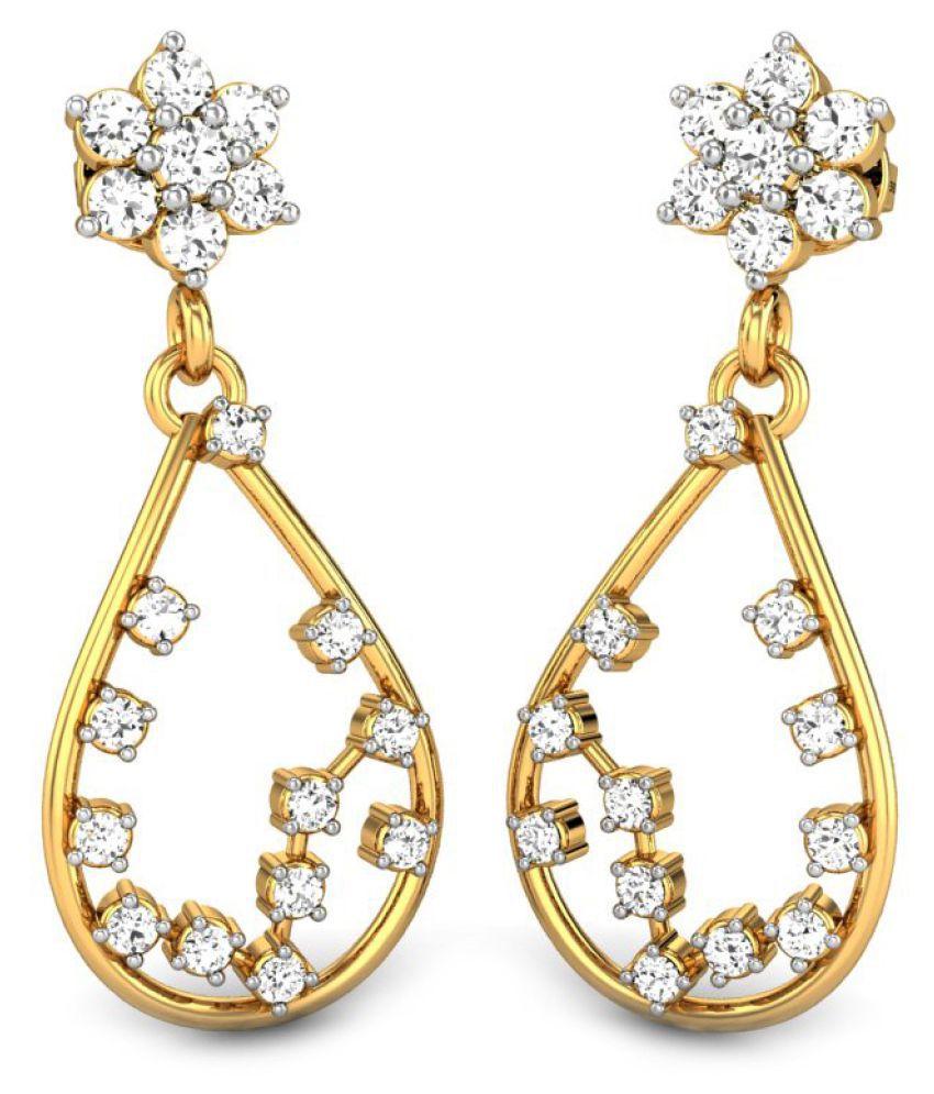 Candere 14k BIS Hallmarked Yellow Gold Diamond Hangings
