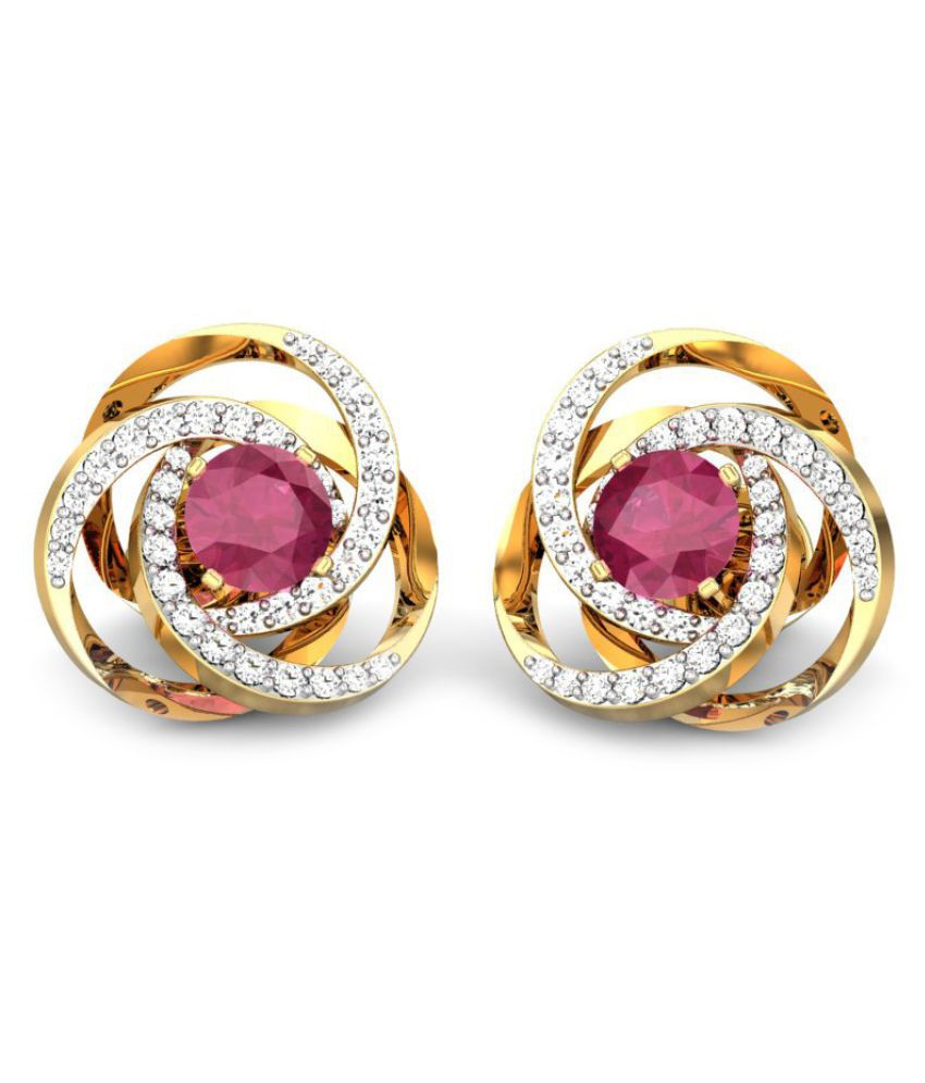Candere 14k BIS Hallmarked Yellow Gold Ruby Studs