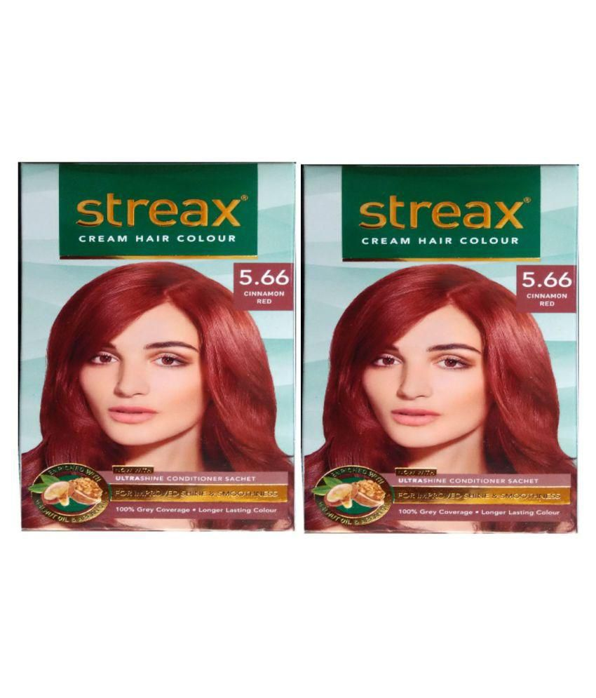 Streax Cream Permanent Hair Color Red Cinnamon Red 566 120 Ml Pack