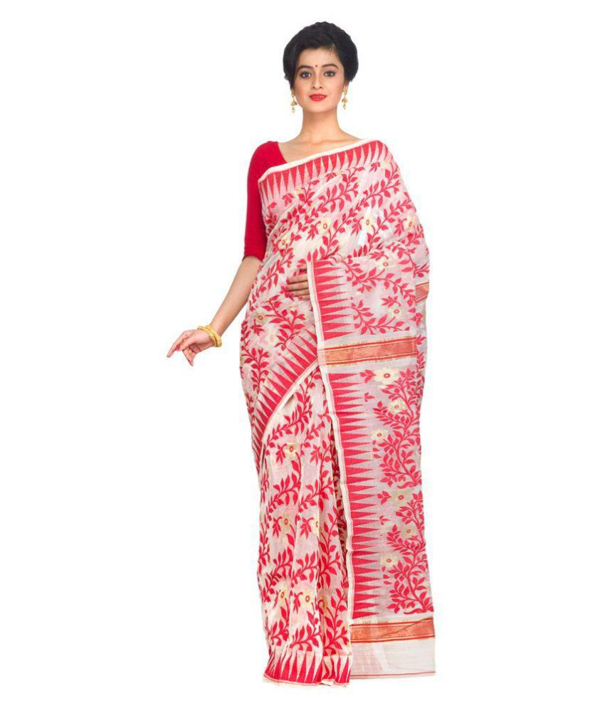 PinkLoom Multicolour Jamdani Saree