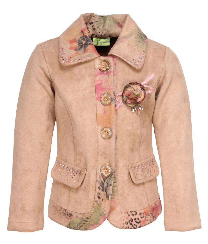 Cutecumber Girl's Pink Floral Printed Brown Coat