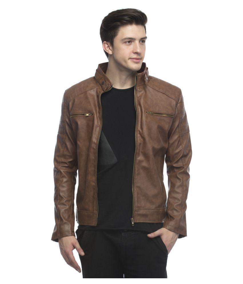 Lambency Brown Biker Jacket