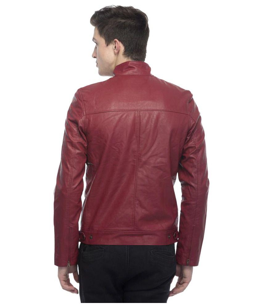 1c2cb7e72 Lambency Maroon Biker Jacket