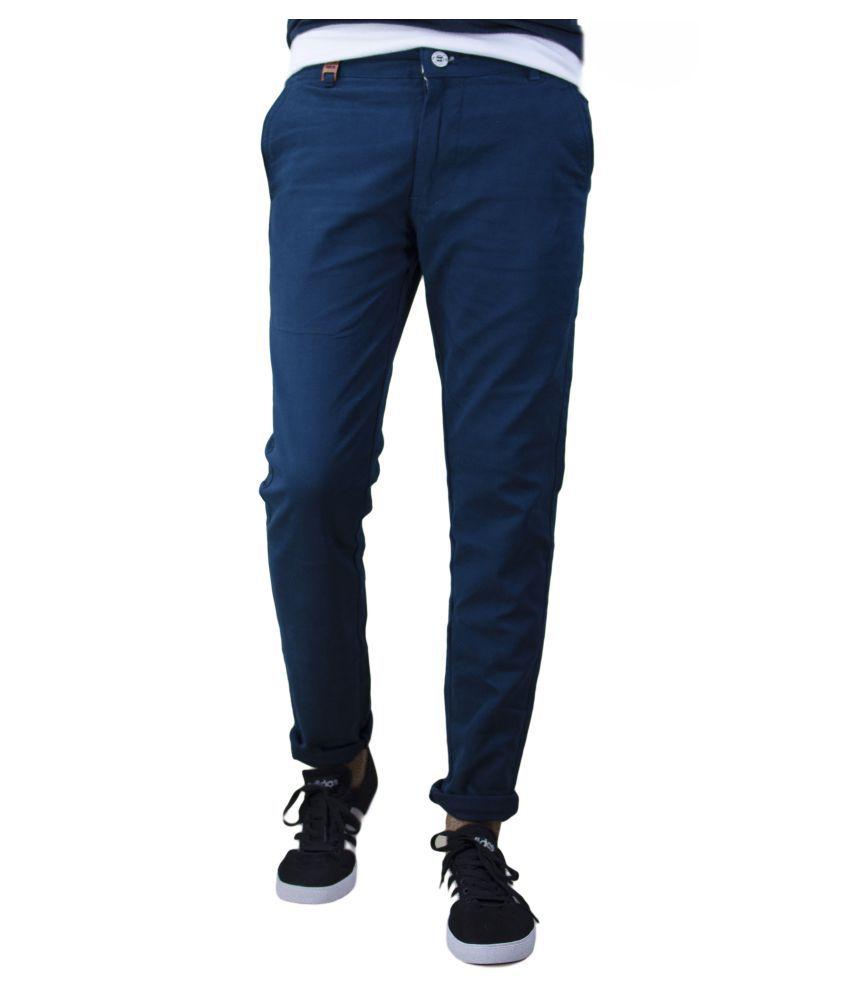 UNQ Navy Blue Slim Flat Trouser