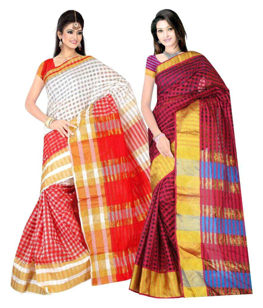 7 Brothers Multicoloured Viscose Saree Combos