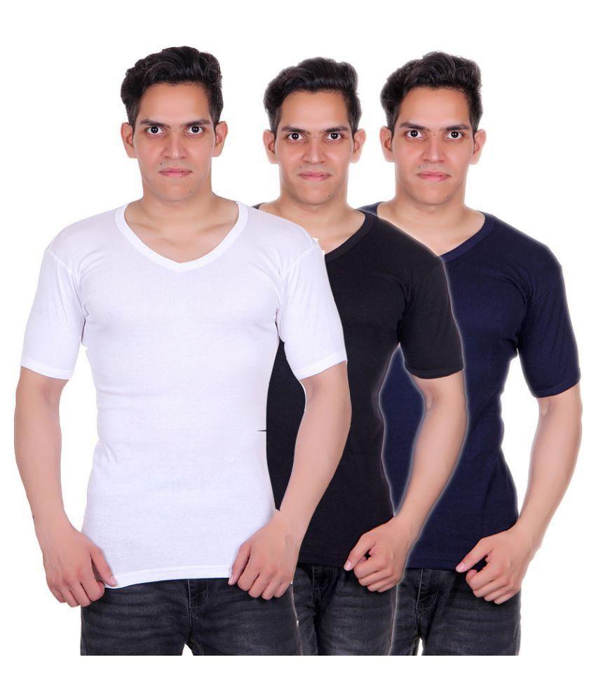White Moon Multi V-Neck T-Shirt