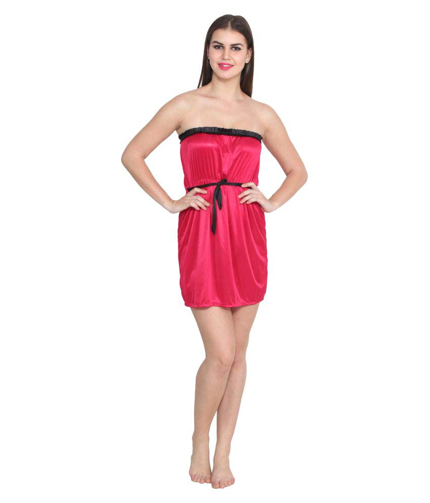 Esoul Pink Satin Baby Doll Dresses Without Panty