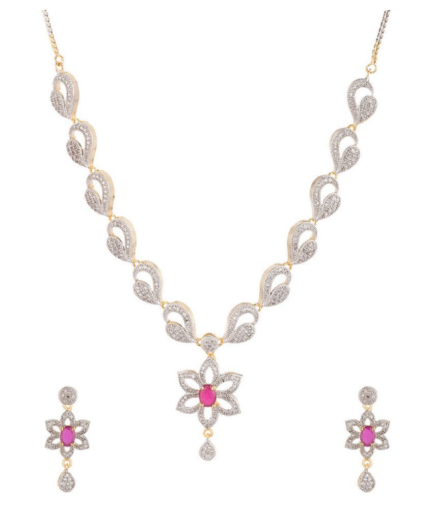 Navya Creations Silver Necklace Set