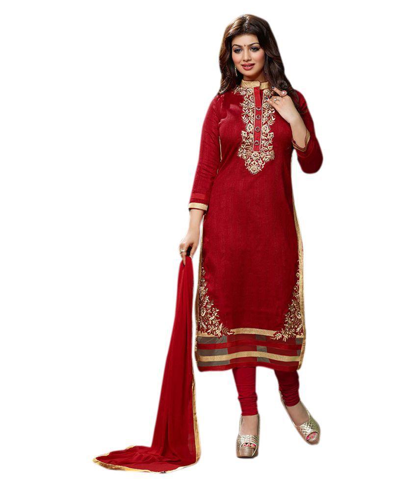 Vivan Fashion Red Bhagalpuri Cotton Dress Material