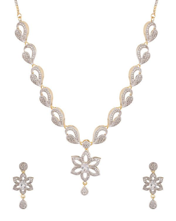 Prateek Retail American Diamond White Necklace Set