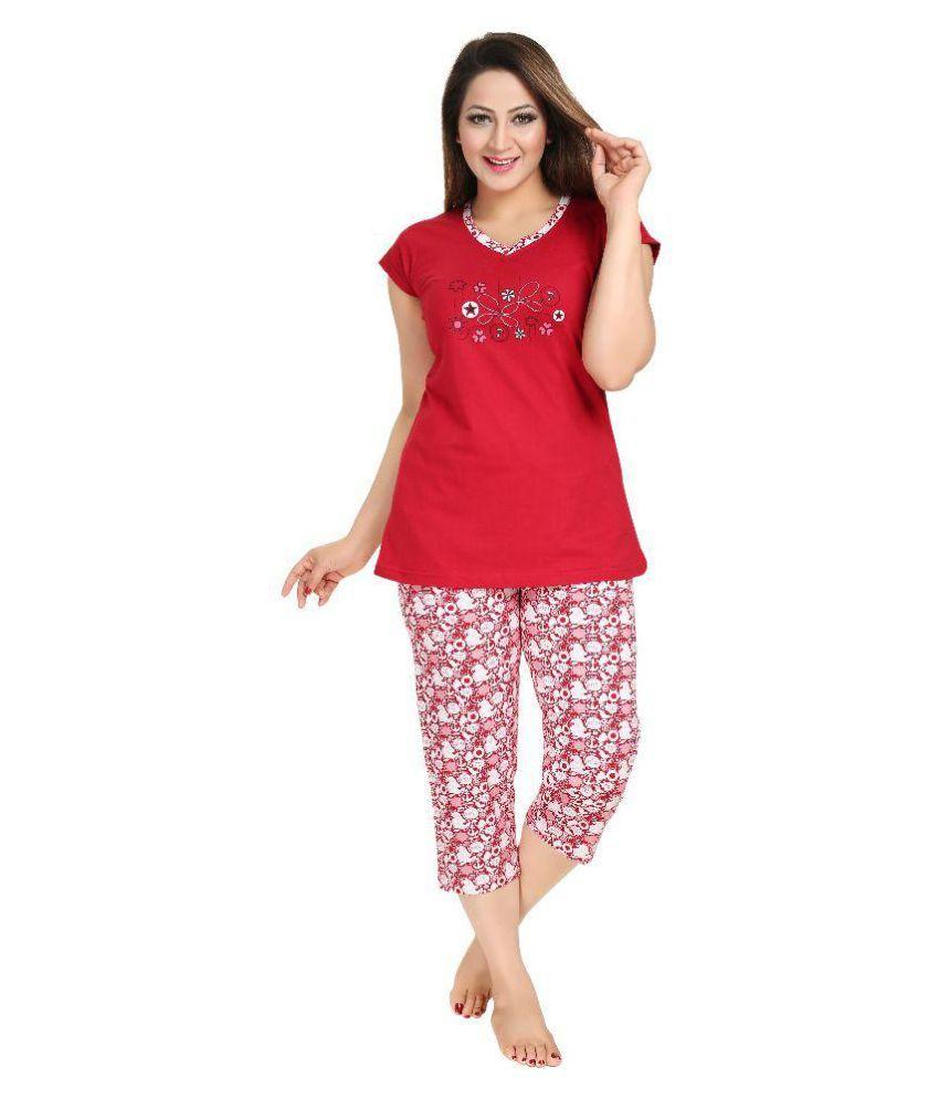 Redantic Red Cotton Nightsuit Sets