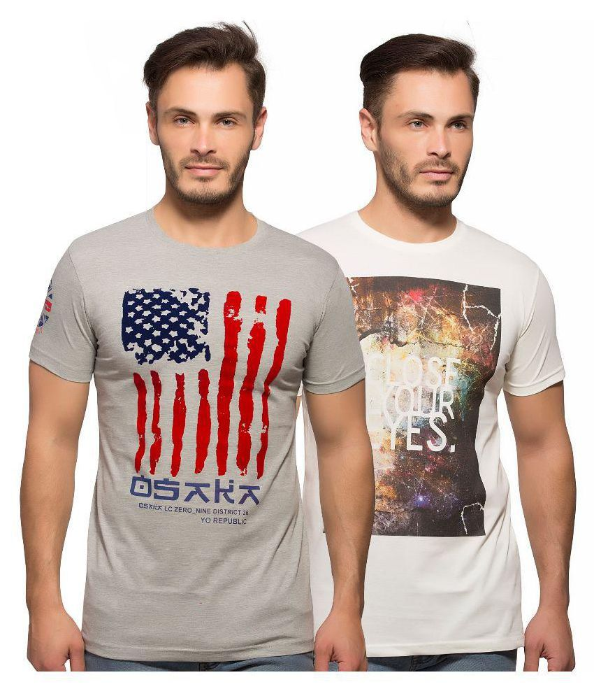 Yo Republic Multi Round T-Shirt Pack of 2