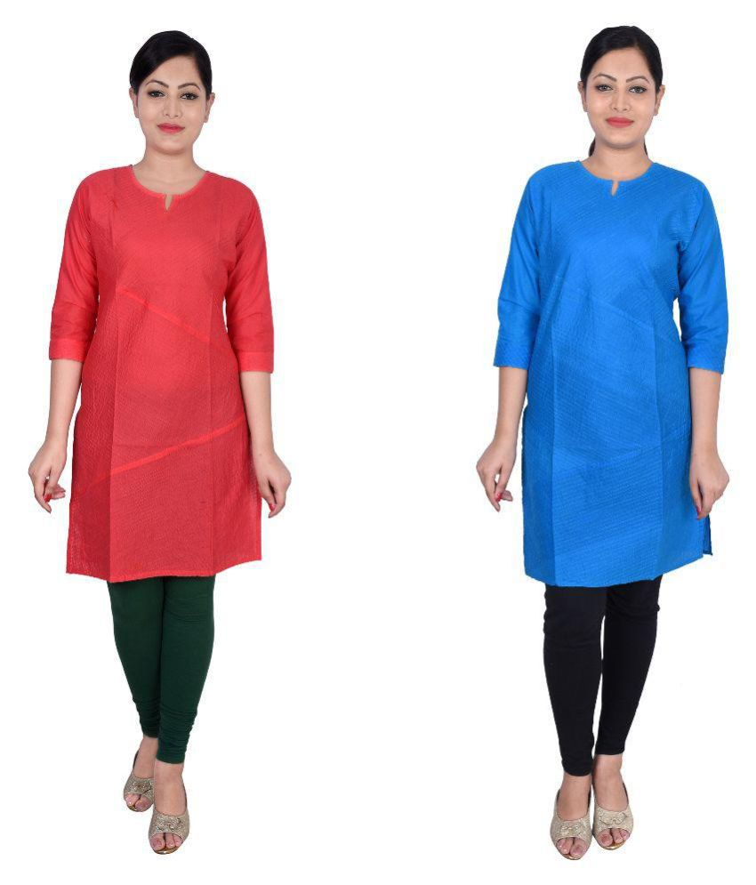 Magnus Multicoloured Cotton Straight Kurti