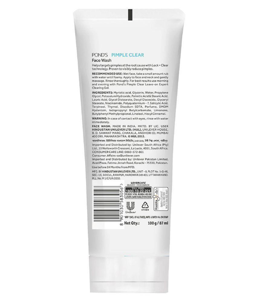 Ponds Pimple Clear Face Wash 100 Gm Buy Men Acne Solution Gel 20 Gr