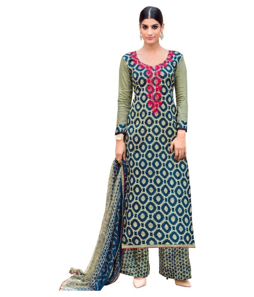 Shelina Multicoloured Chiffon Dress Material