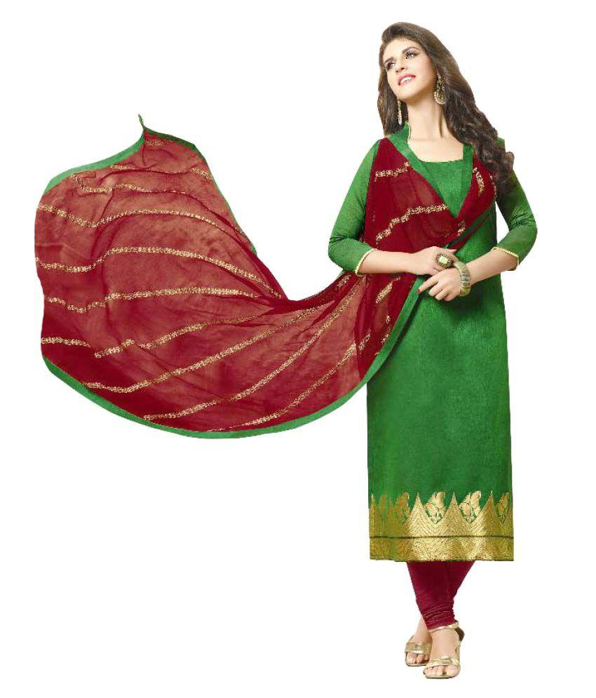 KalashreeFashion Green Jacquard Dress Material