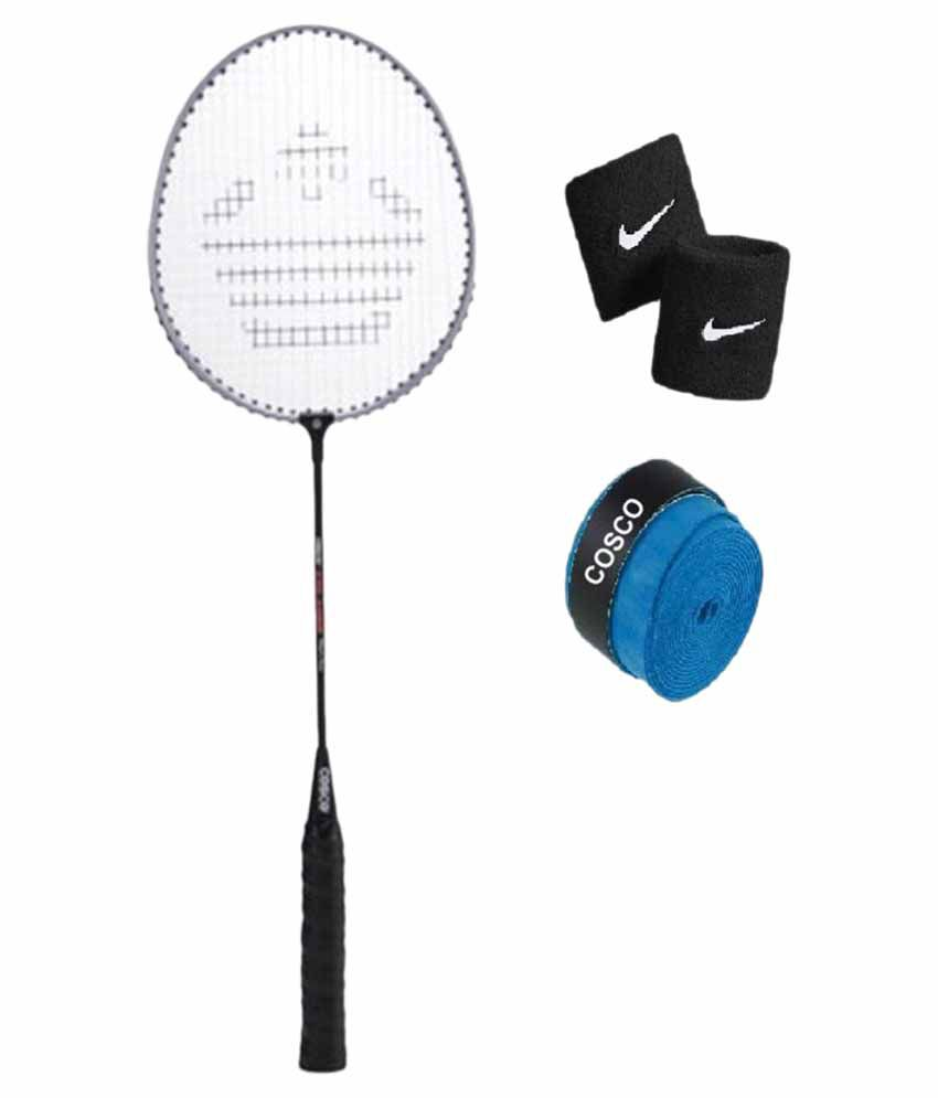 Combo of Cosco CB 150e Badminton Racket / Shuttlecock Bat with Extra Replacement Grip  amp; String  amp; FREE Pair of Wrist Band