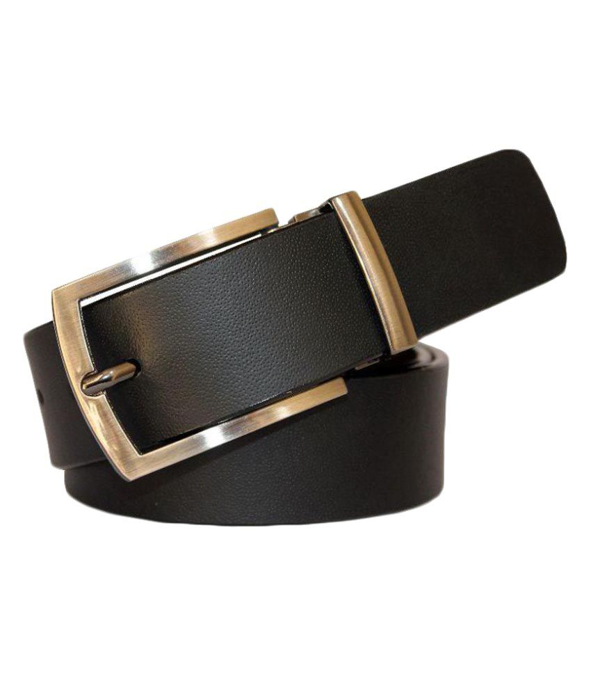 Piiluaa Black Leather Formal Belts