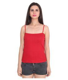 Ansh Fashion Wear Red Cotton Lycra Spaghettis - 685168360175
