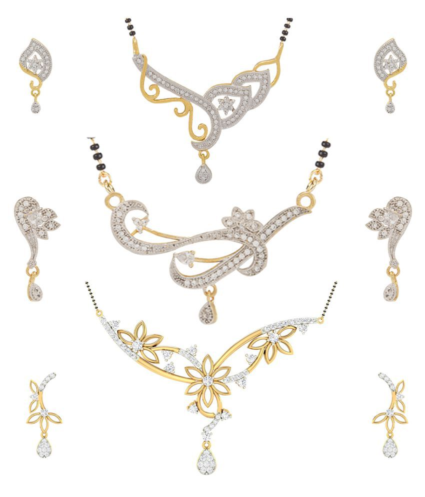 Jewels Galaxy Golden Alloy  Mangalsutra Combo Chain Pack Of 3 Set