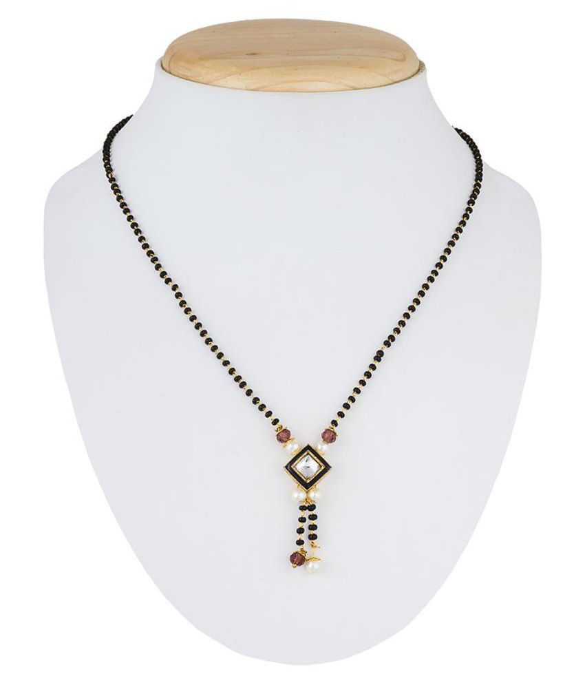 The Luxor Black Stone & Pearl Studded Simple Daily Wear Mangalsutra Chain