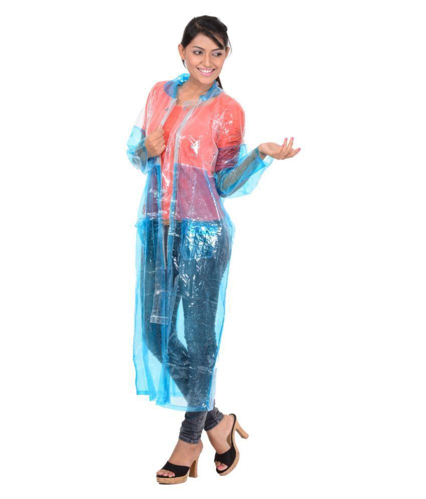 Allwin Blue Polyester Long Raincoat