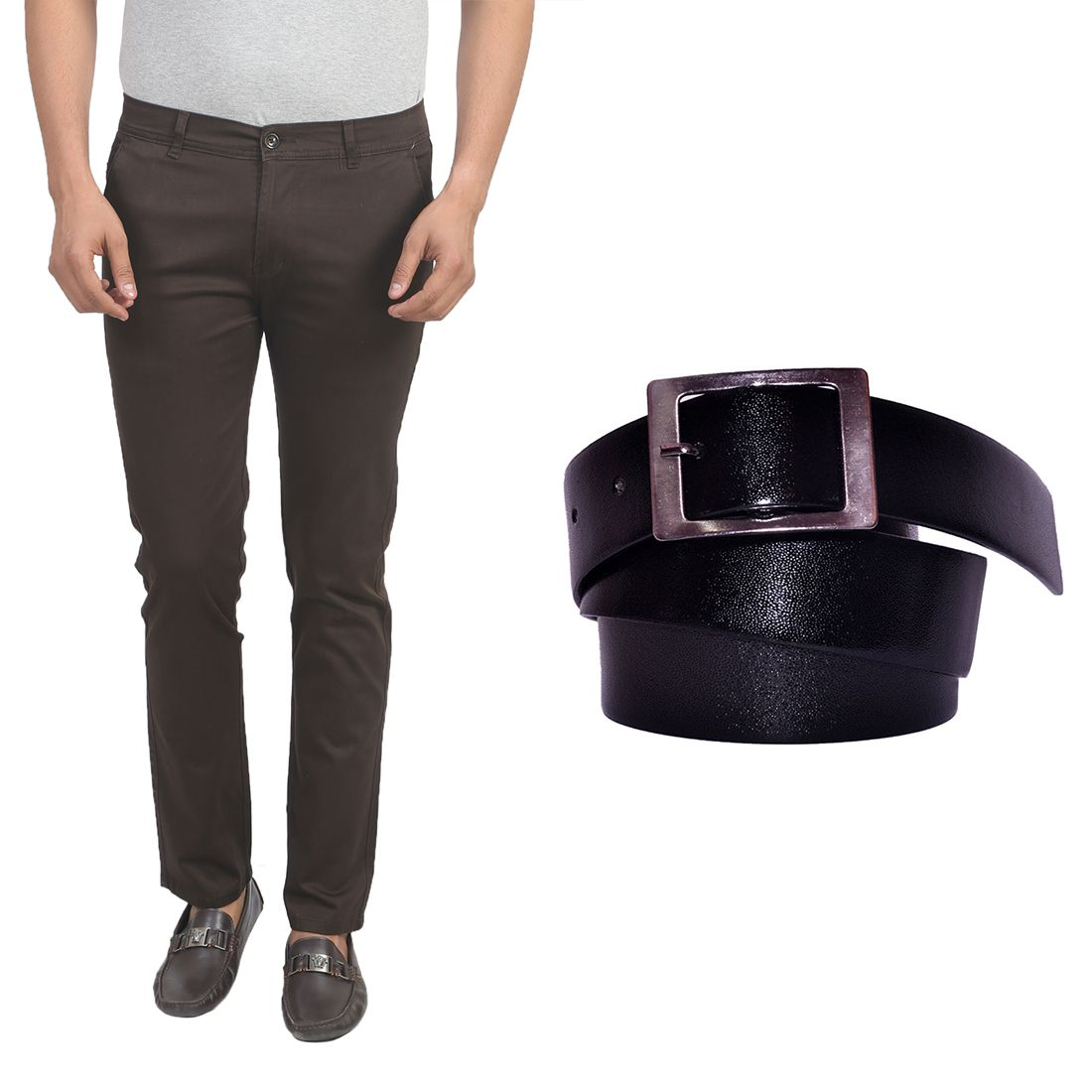 X-Cross Coffee Slim Flat Trouser with Belt