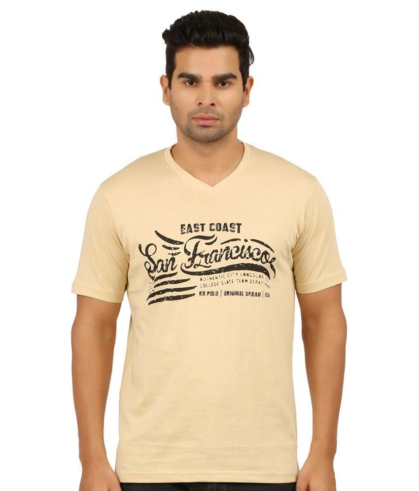 KB Polo Beige V-Neck T-Shirt