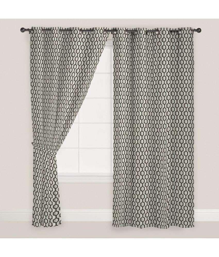 Presto Set of 2 Door Eyelet Curtains Geometrical Multi Color
