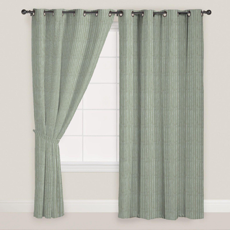 Presto Set of 2 Window Eyelet Curtains Stripes Grey