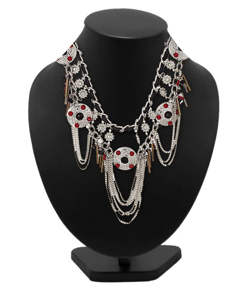 Statement Necklace Adorned with Black-Red Beads