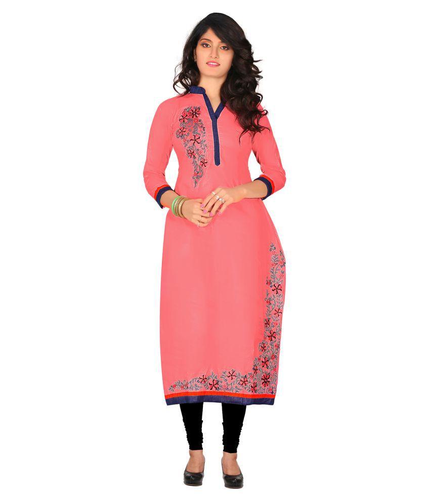 Maroosh Baby Pink Cotton Straight Kurti