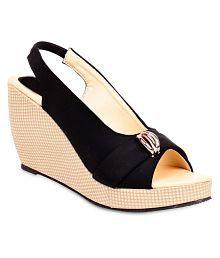 Shoe Lab Black Wedges Heels